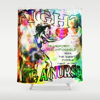 nurse Shower Curtains featuring Fight Like A Nurse by Wired Circuit