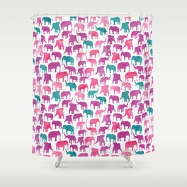 Watercolor Elephant Stampede Pretty Pattern Shower Curtain