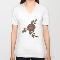 rose V-neck T-shirts featuring Rose by Jessica Roux
