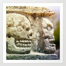 Mayan Stone Skulls Art Print