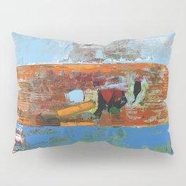 Alligator Blue Orange Modern Abstract Contemporary Art Pillow Sham