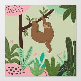 Sloth on Tree Canvas Print
