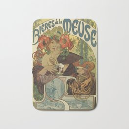 Alfons Mucha art nouveau beer ad Bath Mat