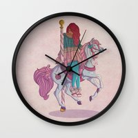 carousel Wall Clocks featuring Carousel by Leigh Wortley