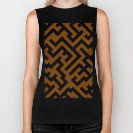 Black and Chocolate Brown Diagonal Labyrinth Biker Tank