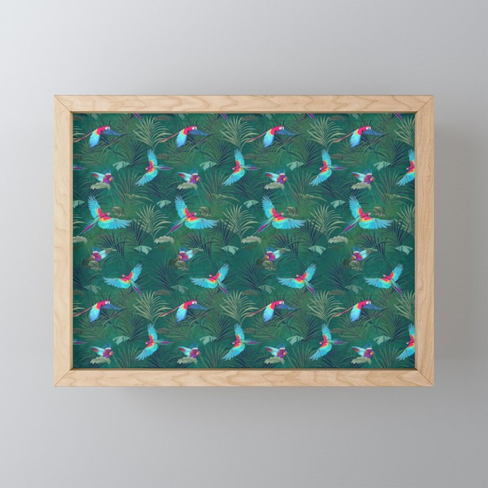 Flying Tropical Birds Parrots with Jungle Background Framed Mini Art Print
