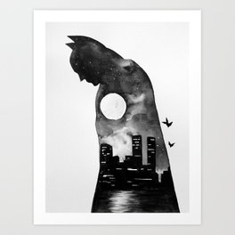 Bat Man Double Exposure Art Print