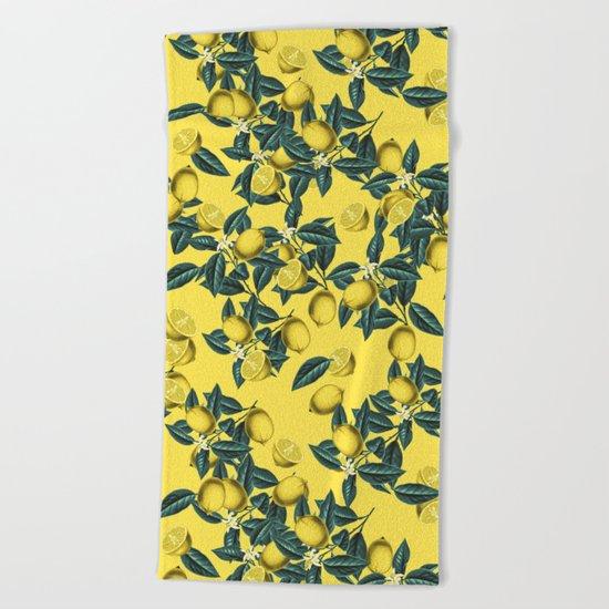 Lemon and Leaf Pattern III Beach Towel