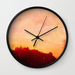 Edinburgh Castle Sunset Wall Clock