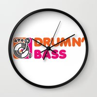 bass Wall Clocks featuring Drumn' Bass  by Jonah Makes Artstuff