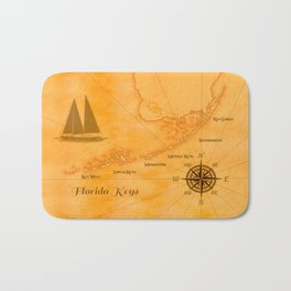 Vintage Nautical Florida Keys Map Bath Mat