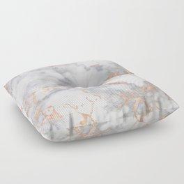 Gray Marble Rosegold  Glitter Pink Metallic Foil Style Floor Pillow