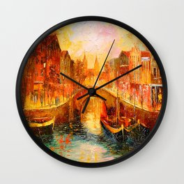 In the evening in Amsterdam Wall Clock