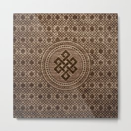 Endless Knot Decorative on Wooden Surface Metal Print