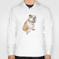 bulldog Hoodies featuring bulldog  by Laura Graves