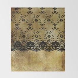 Black floral elegant lace on gold metal background Throw Blanket