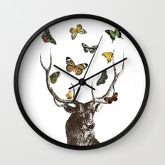 The Stag and Butterflies Wall Clock