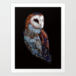 Blue Barn Owl Art Print