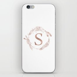 Letter S Rose Gold Pink Initial Monogram iPhone Skin