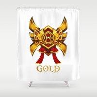 league of legends Shower Curtains featuring League of Legends Gold Tier by Big Little POP World