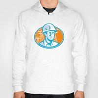 engineer Hoodies featuring Construction Worker Engineer Pylons Retro by retrovectors