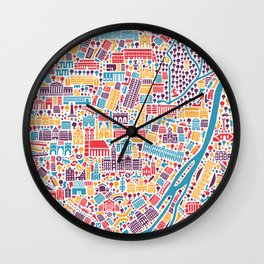 Munich City Map Poster Wall Clock