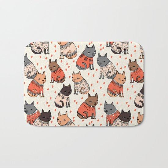 Sweater Cats - by Andrea Lauren Bath Mat