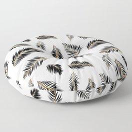 Palm Pattern Black Creamsicle Orange Vector Line Art Floor Pillow