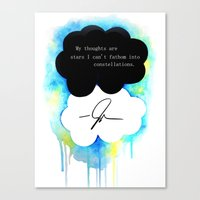 fault in our stars Canvas Prints featuring The Fault in Our Stars by Awful Artist