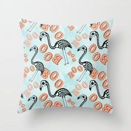 Boo Halloween Flamingo Skeleton Throw Pillow