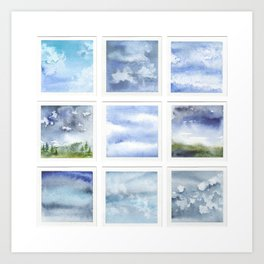 Watercolor collection: Blue sky & clouds Art Print