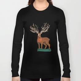 Majestic Stag in Forest Long Sleeve T-shirt