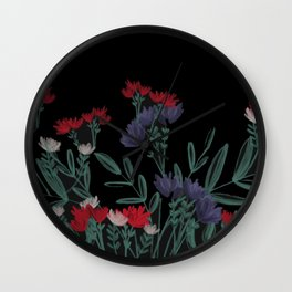 Chalk Illustration-Black Background-Floral-Flower Lady-Plant Lady Wall Clock
