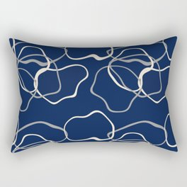 lignes bleues courbes Rectangular Pillow