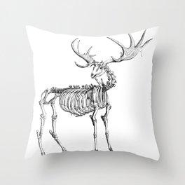 Mountains Stag Skeleton Throw Pillow
