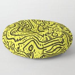 Yellow Graffiti Street Art Posca  Floor Pillow