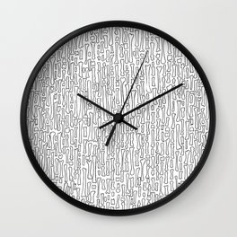 Black and White Skeleton Bone Pattern Wall Clock