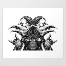 InsanitynArt's Plague Doctors of Death Digitally Doubled Illustration. Art Print