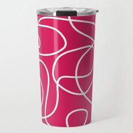 Doodle Line Art | White Lines on Deep Pink Travel Mug
