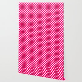 White Crosses on Hot Neon Pink Wallpaper