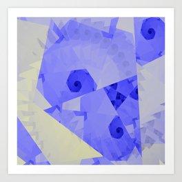 Fractal Designs Blue Face at GreenBeeMee Art Print