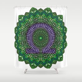 Green Mandala with A Purple Omega Symbol Shower Curtain