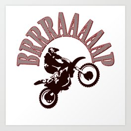 Brrraaaaap Red Checkered Flag Moto Language Art Print