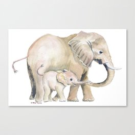 Mom and Baby Elephant 2 Canvas Print