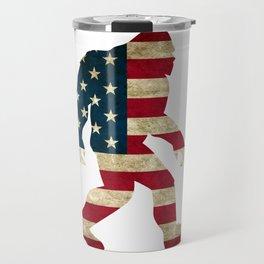 Bigfoot american flag Travel Mug