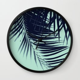 Palm Leaves Blue Summer Vibes #1 #tropical #decor #art #society6 Wall Clock