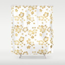 Gold Tropical Flowers Shower Curtain