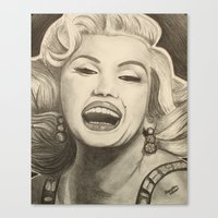 marylin monroe Canvas Prints featuring Marylin by infiniteartistics