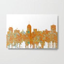 Fresno, California Skyline - Rust Metal Print