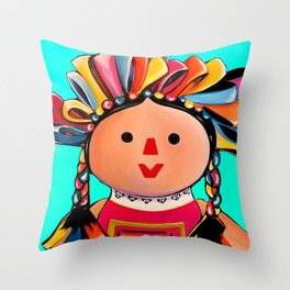 Mexican Maria Doll (turquoise) Throw Pillow